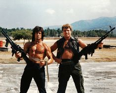 Rambo: First Blood Part II - Behind the scenes photo of Sylvester Stallone