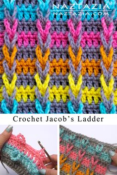 Jacob's Ladder Stitch - Naztazia ® Here's a neat looking crochet stitch pattern. It looks like braids or cables, doesn't it? It is made with chain loops that are then weaved upwards. Crochet Unique, Crochet Simple, Free Crochet, Crochet C2c, Crochet Stitches Patterns, Stitch Patterns, Knitting Patterns, Unique Crochet Stitches, Crochet Stitches For Blankets