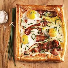 Breakfast Tart... puff pastry, gruyere, eggs, bacon, chives and creme fraiche! Amazing recipe for a brunch!