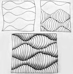 3d Art Drawing, Cool Art Drawings, Art Drawings Sketches, Zentangle Drawings, Zentangle Patterns, Zentangles, Op Art Lessons, Mandala Art Lesson, Scratch Art