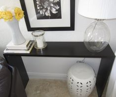 Sleek Console Table: making your own out of three shelves when you can't find a table in your price range or that fits your space