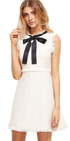 Cheap white party dress, Buy Quality women autumn dress directly from China autumn dress Suppliers: SHEIN Women Autumn Dresses Ladies White Party Dresses Bow Tie Neck Sleeveless Elegant Frayed Trim Tweed Dress Dress With Bow, White Dress, Dress Black, Fall Dresses, Summer Dresses, Party Dresses, Mini Dresses, Dress Party, White Bow Tie