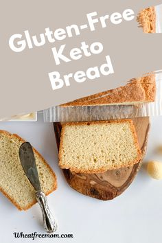 This gluten-free keto bread is easy to make and is great sliced with a dollop of butter on. No rising time needed to make this grain-free low-carb bread. Perfect for breakfast or as a sandwich of lunch. Free Keto Recipes, Gluten Free Recipes For Breakfast, Gluten Free Breakfasts, Low Carb Recipes, Bread Recipes, Low Carb Bread, Keto Bread, Craving Bread, Low Carb Sandwiches