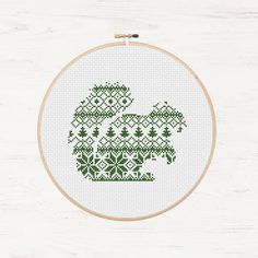 Cross Stitch Pattern Nordic Squirrel Christmas Pattern Scandinavian Style Holiday Gift Forest Animal Chipmunk Pattern Instant Download PDF - pinned by pin4etsy.com