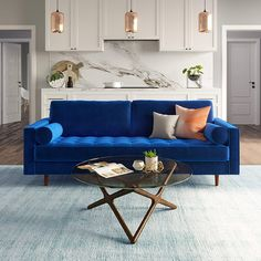 living room with blue sofa Blue Couch Living Room, Rugs In Living Room, Living Room Furniture, Living Room Designs, Modern Furniture, Home Furniture, Living Room Decor, Rustic Furniture, Outdoor Furniture