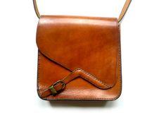 Vintage French Leather Brown  Purse/Handbag.