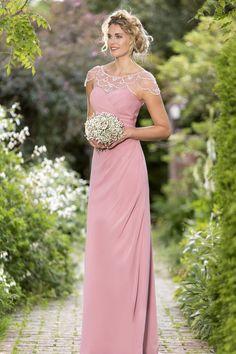 Art Deco Bridesmaid style available in 50 colour options. #bridesmaiddress #bridesmaidgown #pinkbridesmaiddress #truebride