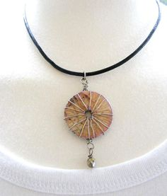 Crackle Decoupaged Washer Pendant by meiguidesigns, $16.00 - wire beads to the washer