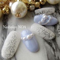 Nail art Christmas - the festive spirit on the nails. Wedding Nail Polish, Wedding Nails, Pearl Nails, Kawaii Nails, Lace Nails, Bride Nails, Japanese Nail Art, Feet Nails, Nagel Gel