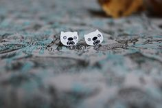Image of White Grizzly Bear Earrings  www.thewishbonecollective.com The Wishbone Collective / Wishbone Designs Handmade & hand illustrated indie geekery alternative quirky geek nerd cute kitsch kawaii jewellery jewelry & hair accessories  animals christmas halloween fox rabbits cats twin peaks game of thrones miniature japanese anime unicorns magic fashion