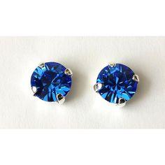 Sapphire Stud Earrings Swarovski Sapphire Earrings Crystal Stud... ($12) ❤ liked on Polyvore featuring jewelry, earrings, earring jewelry, swarovski crystals earrings, sapphire stud earrings, crystal stud earrings and sapphire jewelry