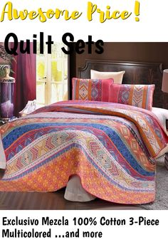 Exclusivo Mezcla 100% Cotton 3-Piece Multicolored Boho Full/Queen Size Quilt Set as Bedspread/Coverlet/Bed Cover- Lightweight, Reversibleand Decorative ... (This is an affiliate link) #quiltsets