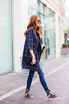 Blue plaid coat