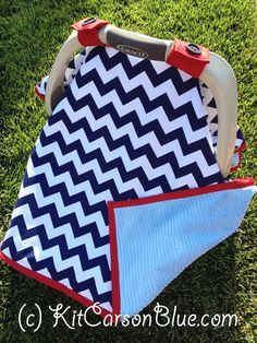 Super Cute Baby Car Seat Covers - CHEVRON in Navy and Blue Minky - NAUTICAL