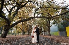 Kelly Anthony Photography www.kellyanthony.com Wedding Photography St Kilda, Melbourne Carlton Gardens  Autumn path, bride and groom