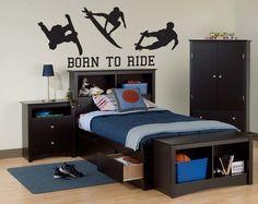 Vinyl Wall Sticker Decal Art - Born To Ride - Surfing, Scateboarding, Snowboarding - boy's room
