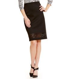 Vince Camuto Back-Zip Laser Cut Skirt