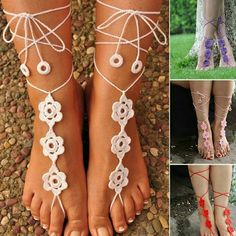 2016 Barefoot Wedding 2016 Sexy Beach Boho Cotton Bridal Crochet Barefoot Sandals Cheap Simple 4 Pieces Lot Hand Made New Fashion Bohemian Formal Ankle Foot Wear Barefoot Wedding clearance Beach Wedding Jewelry, Beach Wedding Sandals, Wedding Beach, Barefoot Wedding, Crochet Barefoot Sandals, Barefoot Shoes, Ankle Chain, Nude Shoes, Rothys Shoes