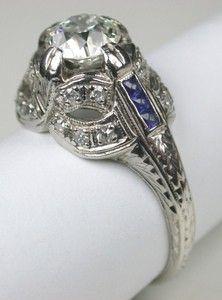 Art Deco Platinum Engagement Ring. $4,900.00, via Etsy.