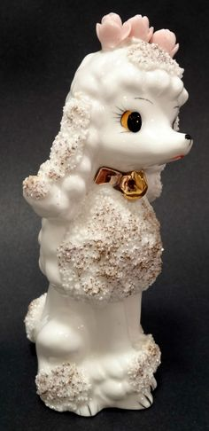 Vintage White French Poodle Figurine Japan with Pink Roses