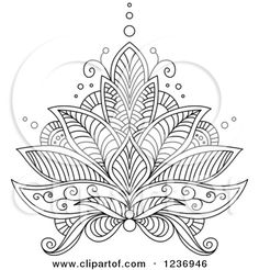Clipart of a Black and White Henna Lotus Flower 6 - Royalty Free ...