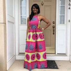 African Ankara Maxi Sleeveless Dress with two Pocket African Maxi Dresses, African Fashion Ankara, Maxi Gowns, Ankara Dress, African Print Fashion, African Attire, African Wear, Ethnic Fashion, Ankara Long Gown Styles