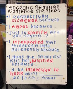 Socratic Seminar discussion stems
