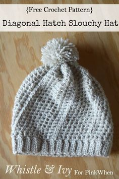 Diagonal Hatch Slouchy Hat - This cute hat is warm and stylish, and has a fun unique hatch pattern! {Free pattern by Whistle and Ivy}