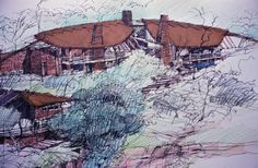 coloured pencil, fineliner and copic markers on A1 cartridge. Lodge in the Waterberge circa 2000
