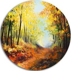 Design Art Bring contemporary abstraction to your home with this circle metal wall art. This 'Autumn Forest Pathway' Painting Print on Metal makes it the focal point of any room or office. Size: H x W x D Circle Canvas, Circle Metal Wall Art, Round Canvas, Square Canvas, Circle Painting, Rock Painting, Chinese Landscape Painting, Landscape Paintings, Planet Painting