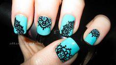 aqua and black lace mani