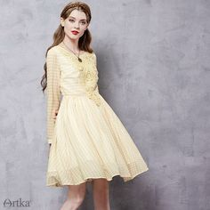 PLT Butter Yellow Knee-Length Embroidery Cocktail Dress