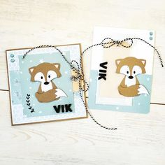 Handmade cards by DT member Sanne with Collectables Fox (COL1355) from Marianne Design