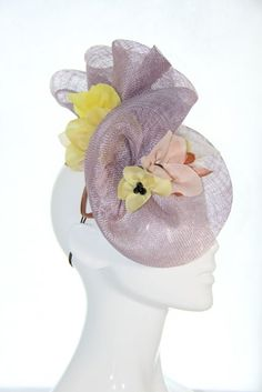Lavender sinimay and floral races hat - Bonnie Evelyn Millinery