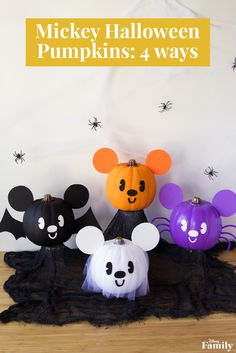Want to have the cutest Halloween decor around? These four DIY Mickey Pumpkins are the perfect addition to any Disney Family home. Halloween 1st Birthdays, Halloween First Birthday, Disney Halloween Parties, Disney Halloween Decorations, Halloween Crafts, Halloween Pumpkins, Pumpkin Decorations, Halloween Season, 16th Birthday