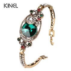 Luxury Vintage Green Satellites Bangles Antique Gold Color Colorful Crystal Turkish Bracelets For Women Bijouterie 2017 New