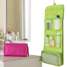 HENGSONG Pieghevole Muro Appeso Organizzatore Trucco Borsa Borse Da Viaggio Borse Toilette Bagno (Verde)