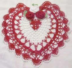 Happy Valentines/Mothers day red and white heart lace crocheted doily home decor handmade in USA original design