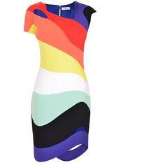Mugler Rainbow Curved Hem Dress ($2,340) ❤ liked on Polyvore featuring dresses, rainbow, rainbow striped dress, white cut out dress, stripe dress, white cap sleeve dress and round hem dress