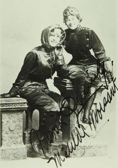 Harriet Quimby and Matilde Moisant, the first two American women to earn pilot's licenses, c. 1910s. (Links to other pioneer women pilots)
