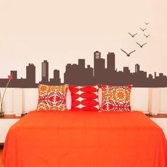 City Skyline Decal - Vinyl Wall Decal. $43.00, via Etsy.