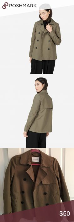 Everlane swing trench in sage Great condition! High quality short trench with playful silhouette. Beautiful olive shade, perfect for fall and spring. Everlane Jackets & Coats Trench Coats