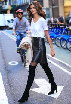 taylor hill white t-shirt leather skirt street look