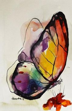 Rainbow Butterfly watercolor painting original by AlisaAdamsoneArt by kelly.meli