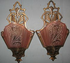 Art Deco Wall Sconce Lights - Consolidated Glass Slip Shades