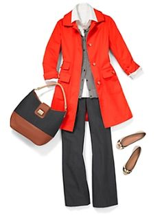 Careerwear. Professional dress for women to wear to work. Formal fashion for professionals (consultants, etc.) All items from Talbots. Red raincoat, silver/gray/grey lurex cardigan, white button-down shirt, trouser-jeans in a dark wash