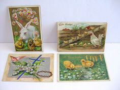 Vintage Easter Religious Postcards Holiday Greetings Lot of 4 posted Gold leaf #Easter