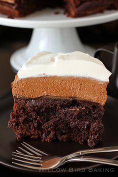 Brownie blackout mousse cake.