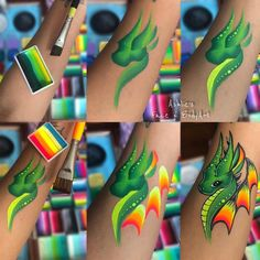 "✨🐉Dragon Pictorial🐉 ✨ 🎨 DFX Splitcake ""Green Carpet"" 🎨 Leanne's Collection Splitcake ""Summer Days"" Dinosaur Face Painting, Dragon Face Painting, Face Painting Tips, Face Painting For Boys, Face Painting Tutorials, Belly Painting, Face Painting Designs, Paint Designs, Animal Face Paintings"