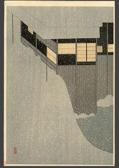 Japanese woodblock, Snowy Morning, Settai Komura                                                                                                                                                      More